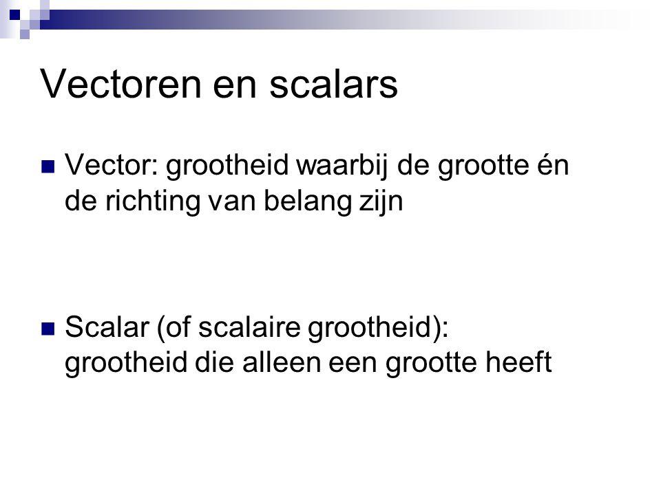Vectoren en scalars  Vector: grootheid waarbij de grootte én de richting van belang zijn  Scalar (of scalaire grootheid): grootheid die alleen een grootte heeft