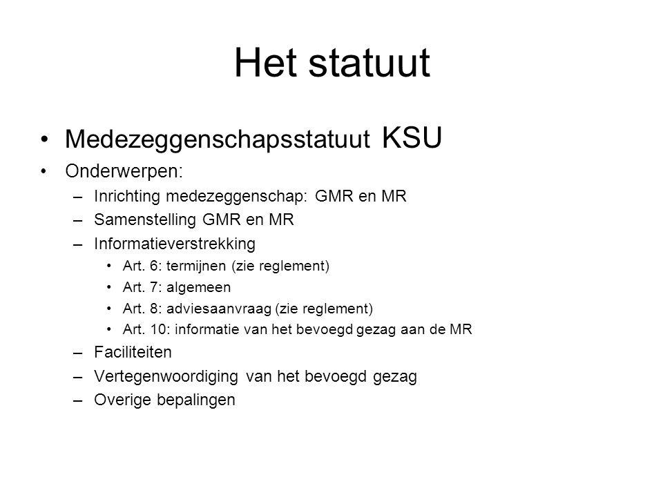 Het statuut •Medezeggenschapsstatuut KSU •Onderwerpen: –Inrichting medezeggenschap: GMR en MR –Samenstelling GMR en MR –Informatieverstrekking •Art.
