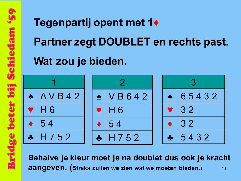 11 2 ♠V B 6 4 2 ♥H 6 ♦5 4 ♣H 7 5 2 Tegenpartij opent met 1♦ Partner zegt DOUBLET en rechts past. Wat zou je bieden. 3 ♠6 5 4 3 2 ♥3 2 ♦ ♣5 4 3 2 1 ♠A