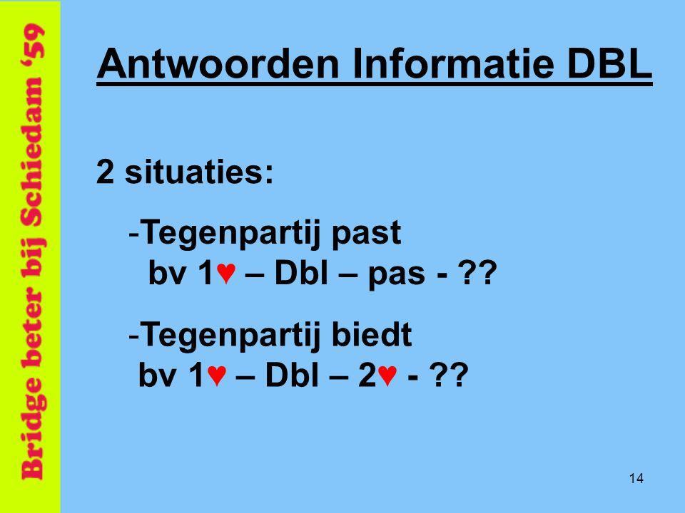14 Antwoorden Informatie DBL 2 situaties: -Tegenpartij past bv 1 ♥ – Dbl – pas - ?? -Tegenpartij biedt bv 1 ♥ – Dbl – 2♥ - ??