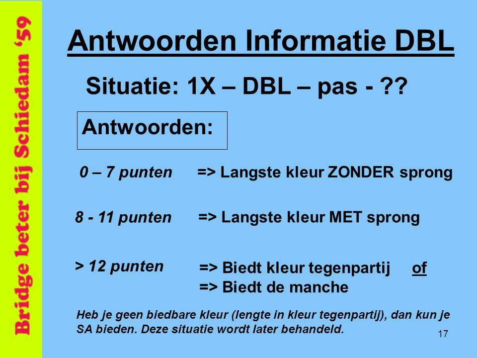 17 Antwoorden Informatie DBL => Langste kleur ZONDER sprong Situatie: 1X – DBL – pas - ?? 0 – 7 punten => Langste kleur MET sprong 8 - 11 punten > 12