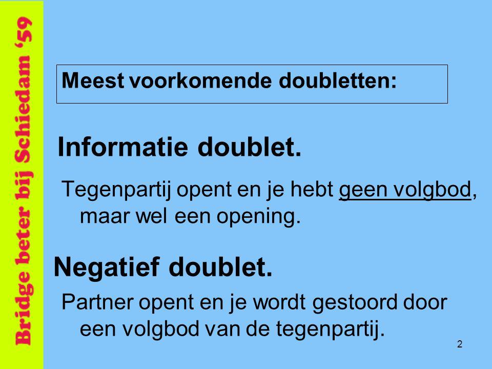 3 Informatie doublet Betekenis: Situatie : Na opening tegenpartij •Opening •Kan geen volgbod doen •Bij voorkeur kort in openingskleur Ook: •Sterke hand (SA van 18+ en 'volgbod' vanaf 16 pnt)