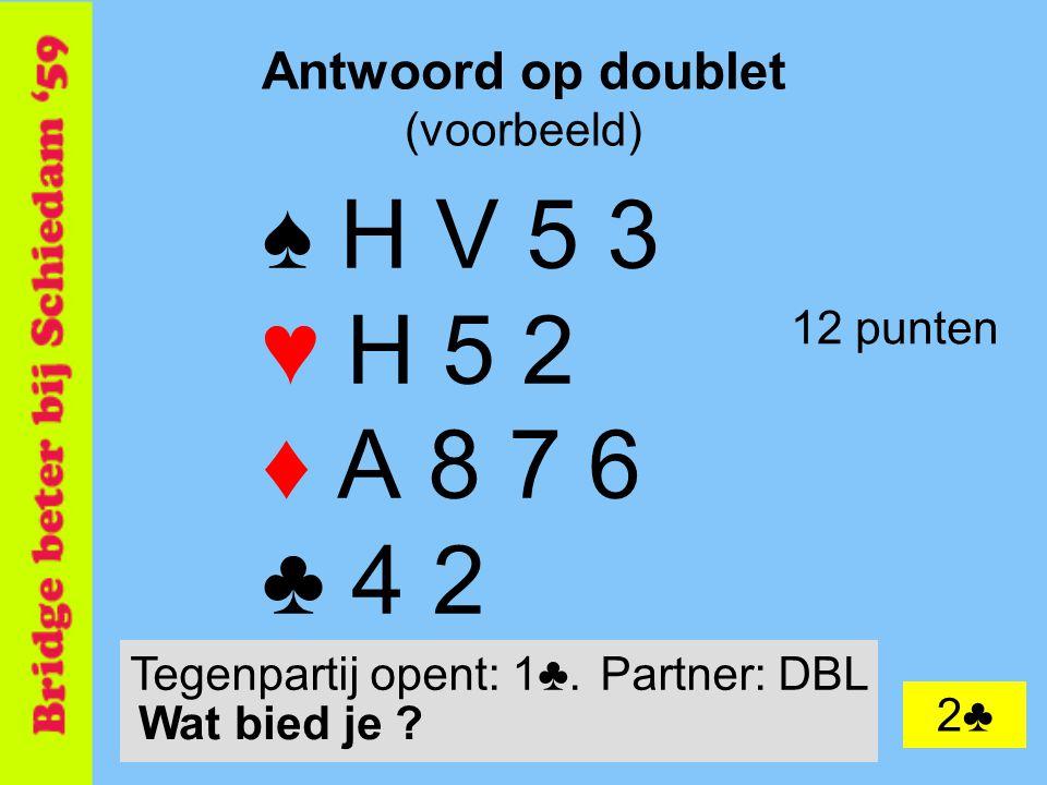 20 Antwoord op doublet (voorbeeld) ♠ H V 5 3 ♥ H 5 2 ♦ A 8 7 6 ♣ 4 2 12 punten 2♣ Tegenpartij opent: 1♣.Partner: DBL Wat bied je ?