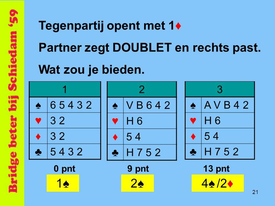 21 2 ♠V B 6 4 2 ♥H 6 ♦5 4 ♣H 7 5 2 Tegenpartij opent met 1♦ Partner zegt DOUBLET en rechts past. Wat zou je bieden. 1 ♠6 5 4 3 2 ♥3 2 ♦ ♣5 4 3 2 3 ♠A