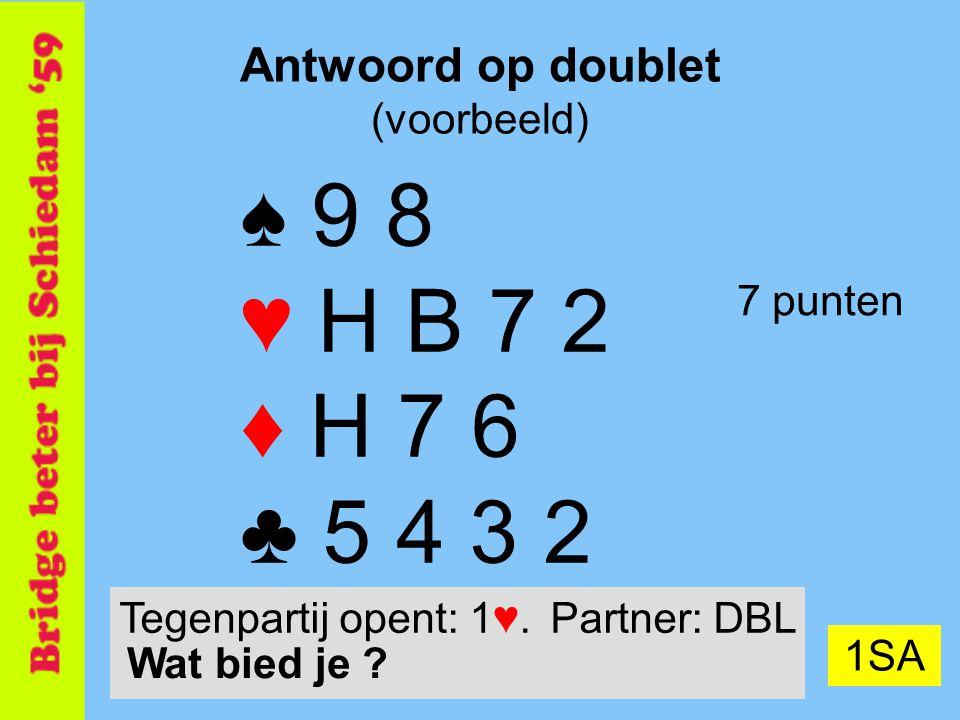 25 Antwoord op doublet (voorbeeld) ♠ 9 8 ♥ H B 7 2 ♦ H 7 6 ♣ 5 4 3 2 7 punten 1SA Tegenpartij opent: 1♥.Partner: DBL Wat bied je ?