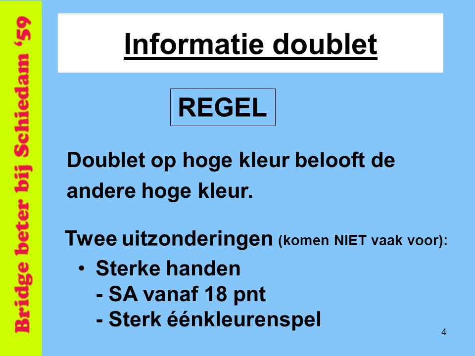 4 Informatie doublet Doublet op hoge kleur belooft de andere hoge kleur. REGEL Twee uitzonderingen (komen NIET vaak voor): •Sterke handen - SA vanaf 1
