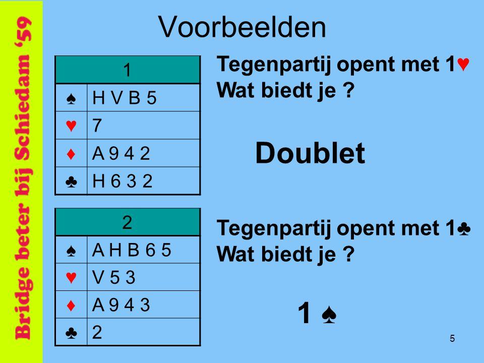 5 Voorbeelden 1 ♠H V B 5 ♥7 ♦A 9 4 2 ♣H 6 3 2 Tegenpartij opent met 1♥ Wat biedt je ? Doublet 2 ♠A H B 6 5 ♥V 5 3 ♦A 9 4 3 ♣2 Tegenpartij opent met 1♣