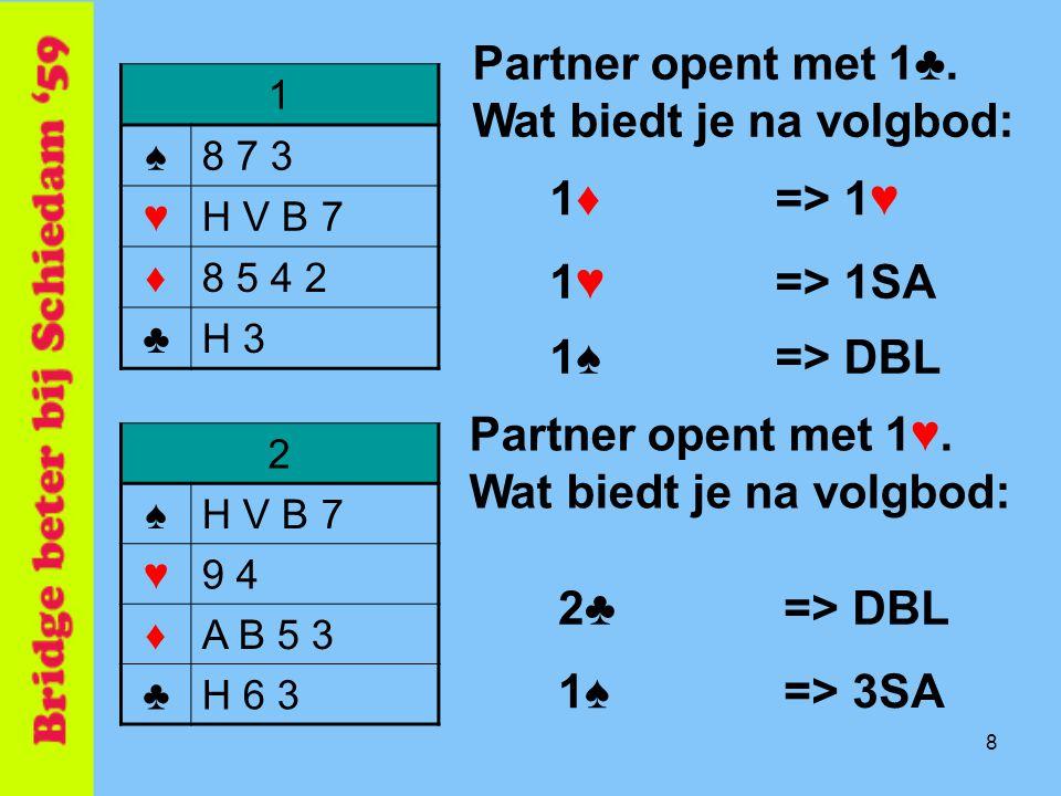 8 1 ♠8 7 3 ♥H V B 7 ♦8 5 4 2 ♣H 3 Partner opent met 1♣. Wat biedt je na volgbod: 1♦1♦ 1♥1♥ 1♠1♠ => 1♥ => DBL => 1SA 2♣2♣ 1♠1♠ => DBL => 3SA 2 ♠H V B 7
