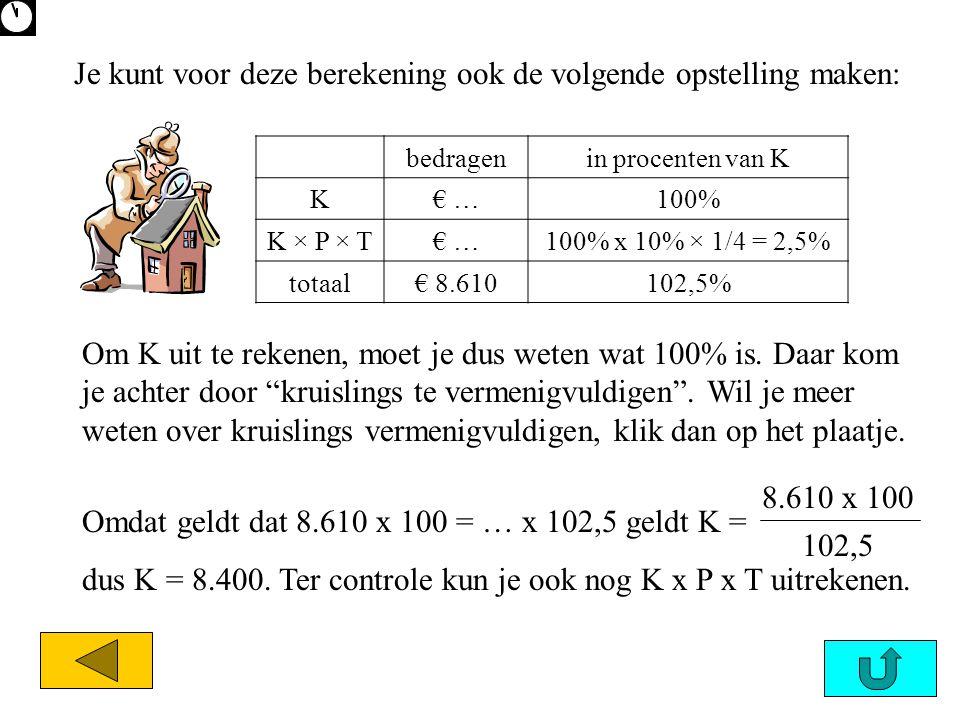 bedragenin procenten van K K€ …100% K × P × T€ …100% x 10% × 1/4 = 2,5% totaal€ 8.610102,5% Om K uit te rekenen, moet je dus weten wat 100% is. Daar k
