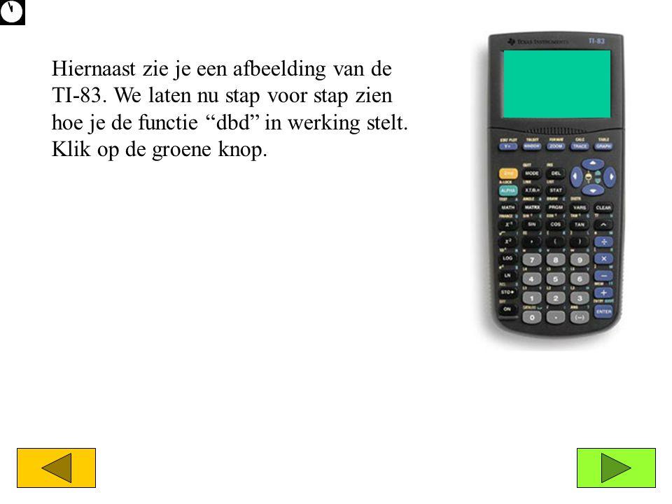 """Hiernaast zie je een afbeelding van de TI-83. We laten nu stap voor stap zien hoe je de functie """"dbd"""" in werking stelt. Klik op de groene knop."""