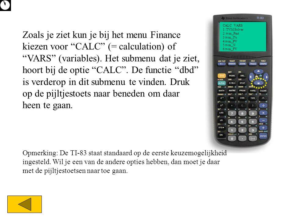 """CALC VARS 1: TVM Solver 2: tvm_Pmt 3:tvm_I% 4:tvm_PV 5:tvm_N 6:tvm_FV Zoals je ziet kun je bij het menu Finance kiezen voor """"CALC"""" (= calculation) of"""