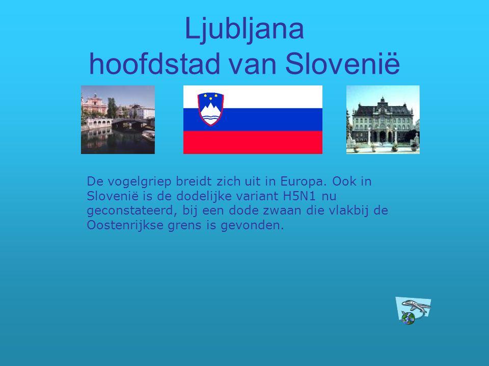 Ljubljana hoofdstad van Slovenië De vogelgriep breidt zich uit in Europa. Ook in Slovenië is de dodelijke variant H5N1 nu geconstateerd, bij een dode