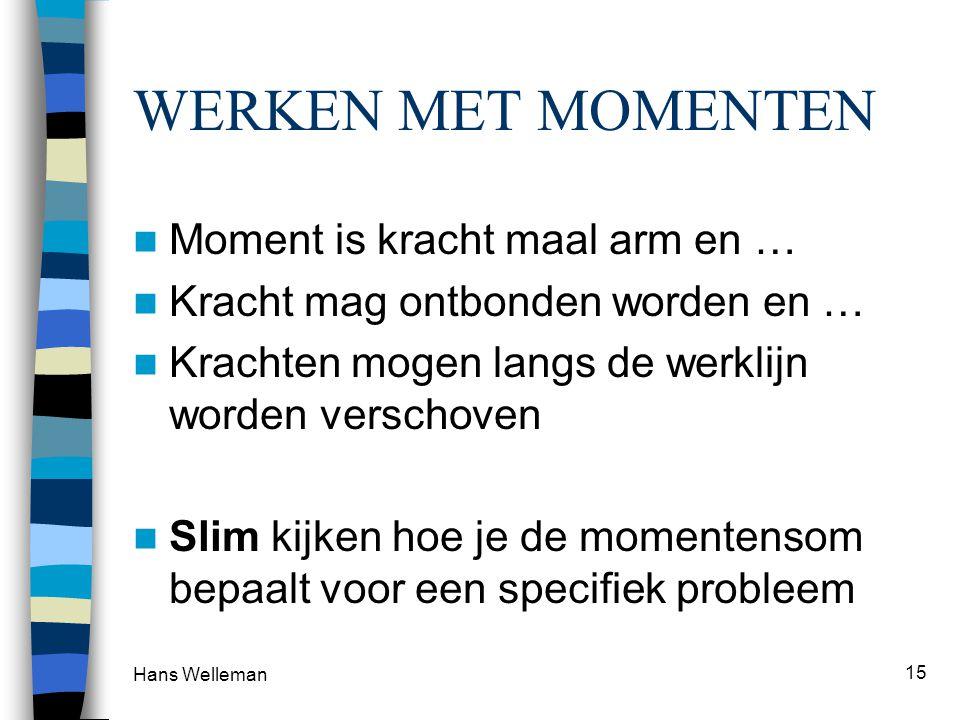 Hans Welleman 15 WERKEN MET MOMENTEN  Moment is kracht maal arm en …  Kracht mag ontbonden worden en …  Krachten mogen langs de werklijn worden ver