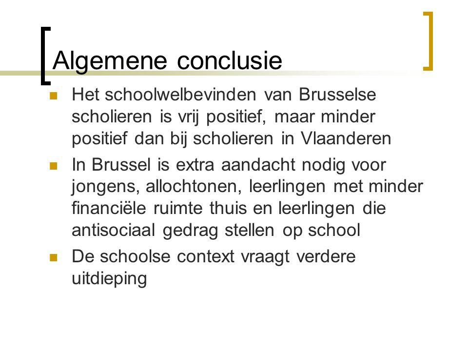 Algemene conclusie  Het schoolwelbevinden van Brusselse scholieren is vrij positief, maar minder positief dan bij scholieren in Vlaanderen  In Bruss
