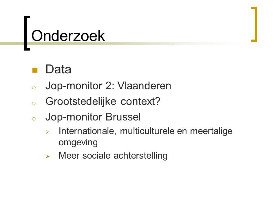 Onderzoek  Data o Jop-monitor 2: Vlaanderen o Grootstedelijke context? o Jop-monitor Brussel  Internationale, multiculturele en meertalige omgeving