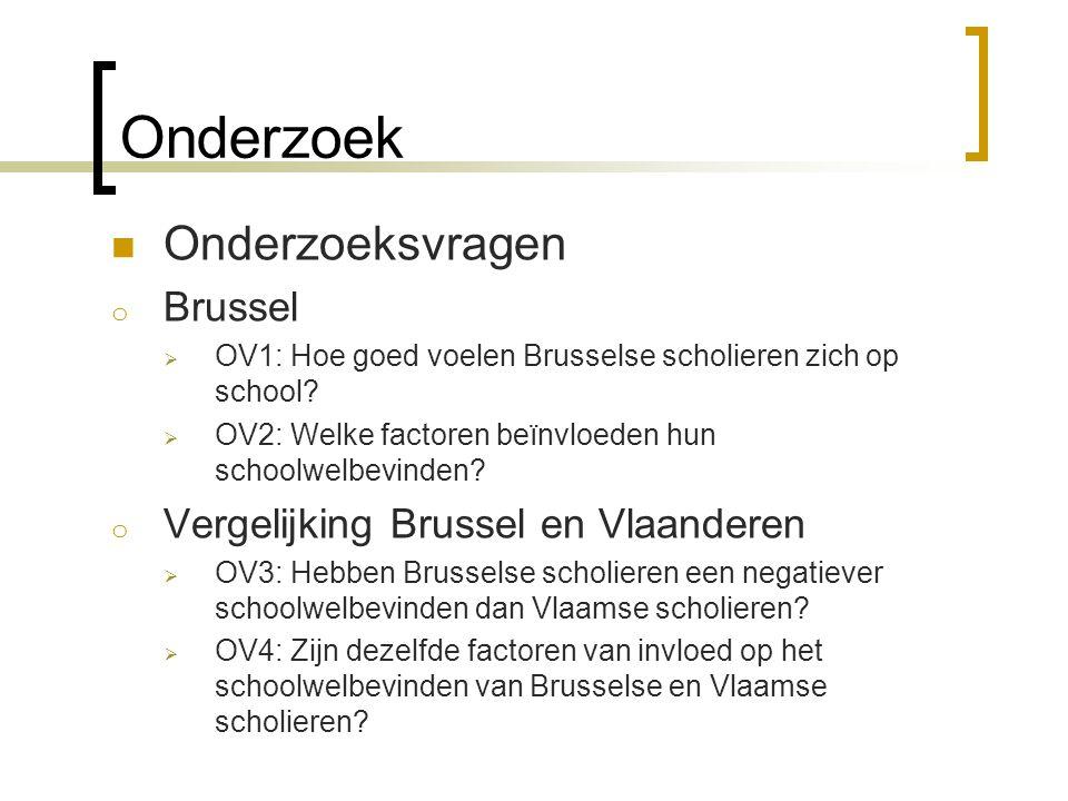 Onderzoek  Onderzoeksvragen o Brussel  OV1: Hoe goed voelen Brusselse scholieren zich op school?  OV2: Welke factoren beïnvloeden hun schoolwelbevi
