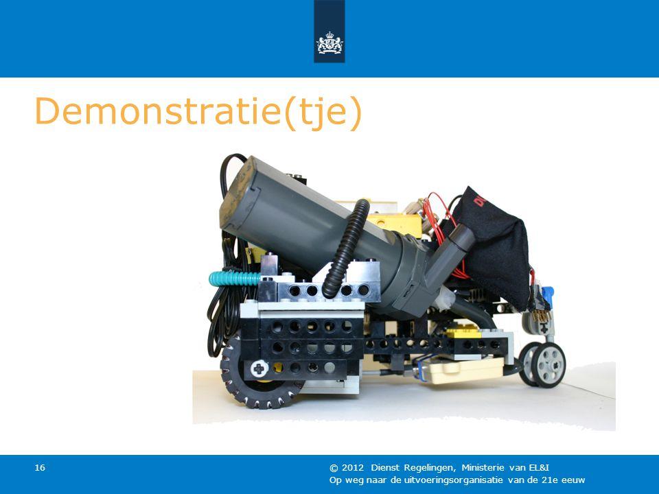 Op weg naar de uitvoeringsorganisatie van de 21e eeuw © 2012 Dienst Regelingen, Ministerie van EL&I 16 Demonstratie(tje)