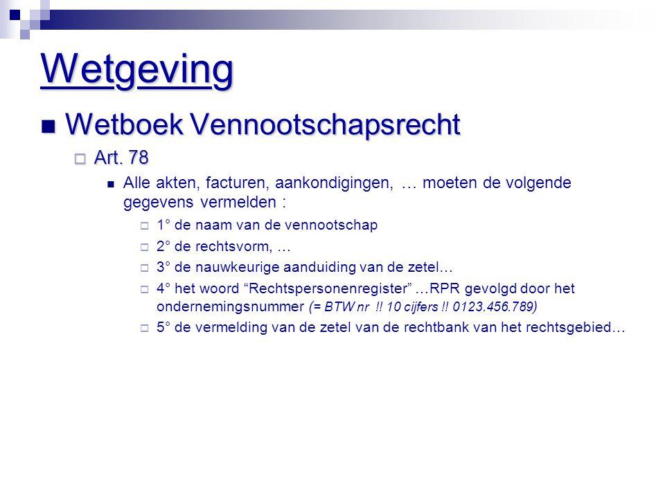 Wetgeving  Wetboek Vennootschapsrecht  Art.