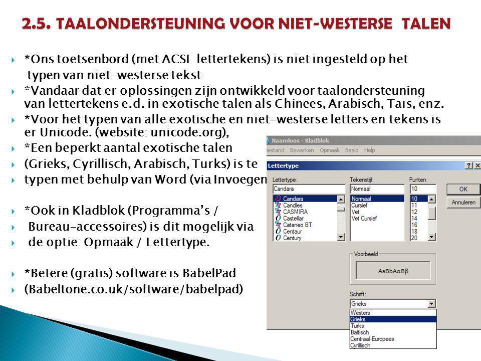 *Ons toetsenbord (met ACSI lettertekens) is niet ingesteld op het typen van niet-westerse tekst  *Vandaar dat er oplossingen zijn ontwikkeld voor taalondersteuning van lettertekens e.d.