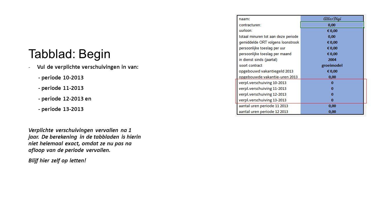 Tabblad: Begin -Vul de verplichte verschuivingen in van: - periode 10-2013 - periode 11-2013 - periode 12-2013 en - periode 13-2013 Verplichte verschu