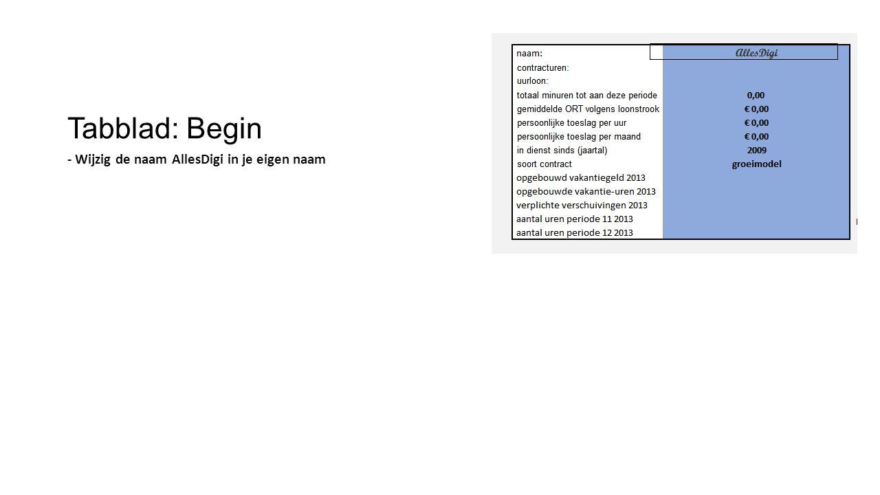 Tabblad: Begin -Vul de verplichte verschuivingen in van: - periode 10-2013 - periode 11-2013 - periode 12-2013 en - periode 13-2013 Verplichte verschuivingen vervallen na 1 jaar.