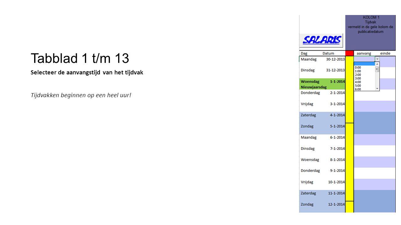 Tabblad 1 t/m 13 Selecteer de aanvangstijd van het tijdvak Tijdvakken beginnen op een heel uur!
