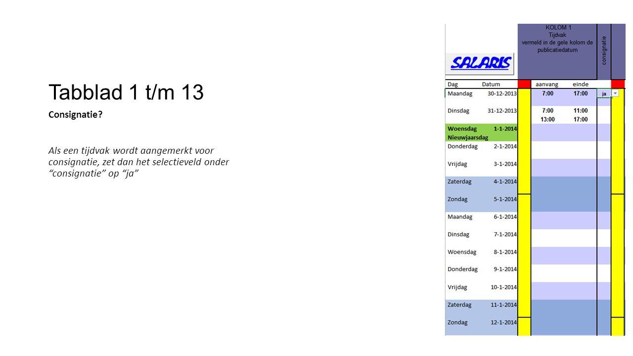 """Tabblad 1 t/m 13 Consignatie? Als een tijdvak wordt aangemerkt voor consignatie, zet dan het selectieveld onder """"consignatie"""" op """"ja"""""""