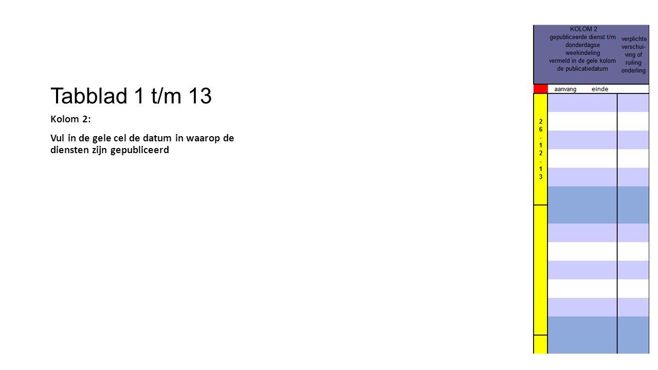 Tabblad 1 t/m 13 Kolom 2: Vul in de gele cel de datum in waarop de diensten zijn gepubliceerd