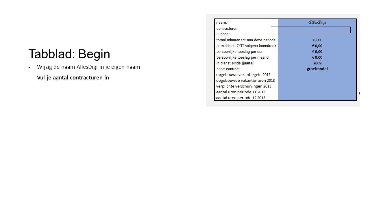 Tabblad: Begin -Wijzig de naam AllesDigi in je eigen naam -Vul je aantal contracturen in -Vul je uurloon in