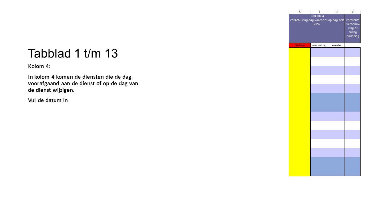 Tabblad 1 t/m 13 Kolom 4: In kolom 4 komen de diensten die de dag voorafgaand aan de dienst of op de dag van de dienst wijzigen. Vul de datum in