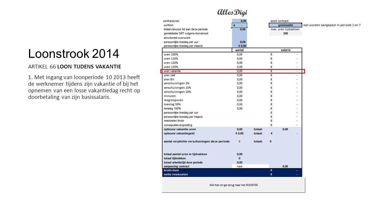 Loonstrook 2014 ARTIKEL 66 LOON TIJDENS VAKANTIE 1. Met ingang van loonperiode 10 2013 heeft de werknemer tijdens zijn vakantie of bij het opnemen van