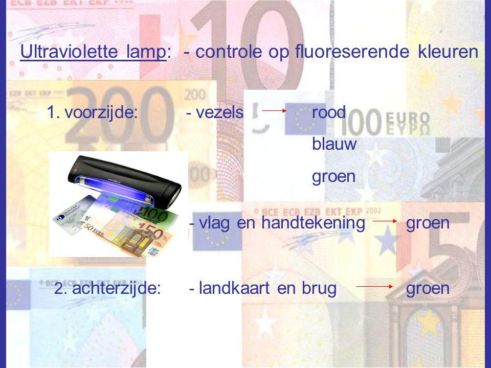 Ultraviolette lamp: - controle op fluoreserende kleuren 1.voorzijde:rood blauw groen - vezels - vlag en handtekeninggroen 2. achterzijde: - landkaart