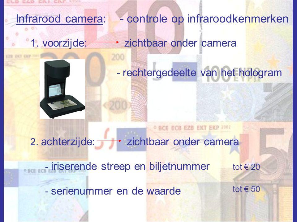Infrarood camera: - controle op infraroodkenmerken 1. voorzijde:zichtbaar onder camera - rechtergedeelte van het hologram 2. achterzijde : zichtbaar o