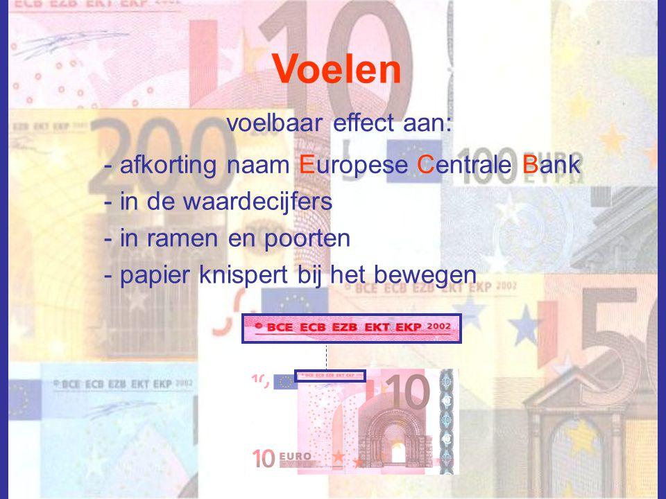 Voelen voelbaar effect aan: - afkorting naam Europese Centrale Bank - in de waardecijfers - in ramen en poorten - papier knispert bij het bewegen