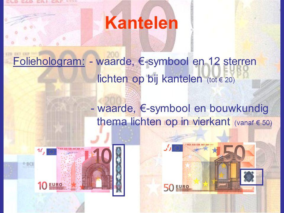 Kantelen Foliehologram: - waarde, €-symbool en 12 sterren lichten op bij kantelen (tot € 20) - waarde, €-symbool en bouwkundig thema lichten op in vie