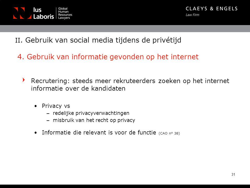II. Gebruik van social media tijdens de privétijd 4. Gebruik van informatie gevonden op het internet Recrutering: steeds meer rekruteerders zoeken op