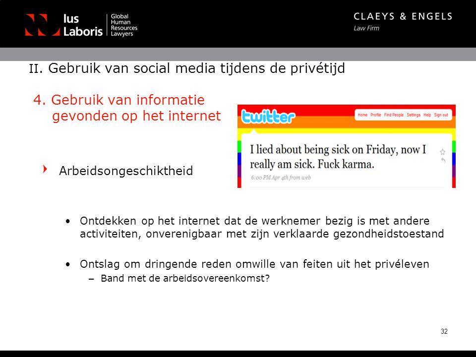 II. Gebruik van social media tijdens de privétijd 4. Gebruik van informatie gevonden op het internet Arbeidsongeschiktheid •Ontdekken op het internet