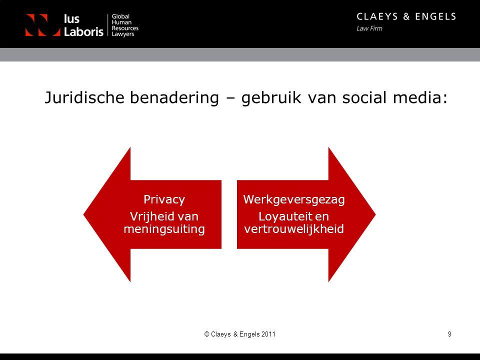 Juridische benadering – gebruik van social media: 9© Claeys & Engels 2011 Privacy Vrijheid van meningsuiting Werkgeversgezag Loyauteit en vertrouwelij
