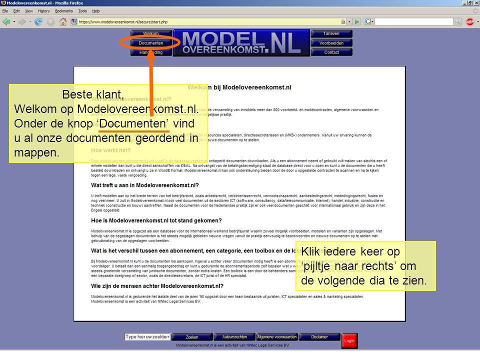 Beste klant, Welkom op Modelovereenkomst.nl.