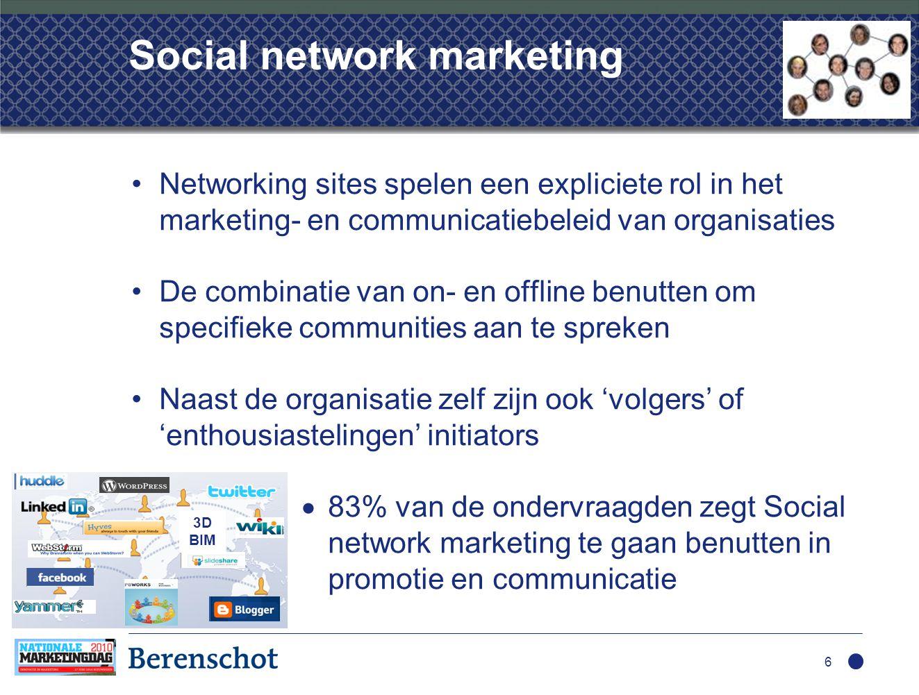 Social network marketing •Networking sites spelen een expliciete rol in het marketing- en communicatiebeleid van organisaties •De combinatie van on- en offline benutten om specifieke communities aan te spreken •Naast de organisatie zelf zijn ook 'volgers' of 'enthousiastelingen' initiators  83% van de ondervraagden zegt Social network marketing te gaan benutten in promotie en communicatie 6 3D BIM