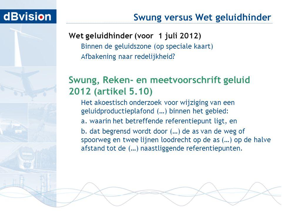 Swung versus Wet geluidhinder Wet geluidhinder (voor 1 juli 2012) Binnen de geluidszone (op speciale kaart) Afbakening naar redelijkheid? Swung, Reken
