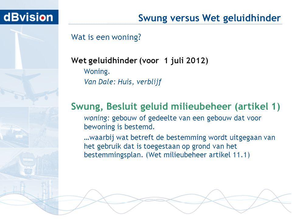 Swung versus Wet geluidhinder Wat is een woning? Wet geluidhinder (voor 1 juli 2012) Woning. Van Dale: Huis, verblijf Swung, Besluit geluid milieubehe