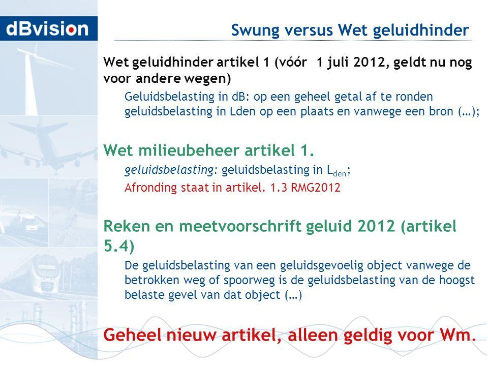 Swung versus Wet geluidhinder Wet geluidhinder artikel 1 (vóór 1 juli 2012, geldt nu nog voor andere wegen) Geluidsbelasting in dB: op een geheel geta