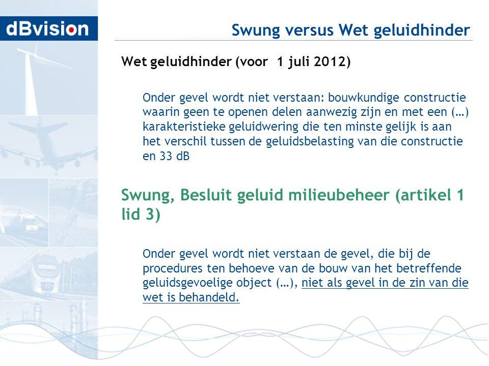 Swung versus Wet geluidhinder Wet geluidhinder (voor 1 juli 2012) Onder gevel wordt niet verstaan: bouwkundige constructie waarin geen te openen delen