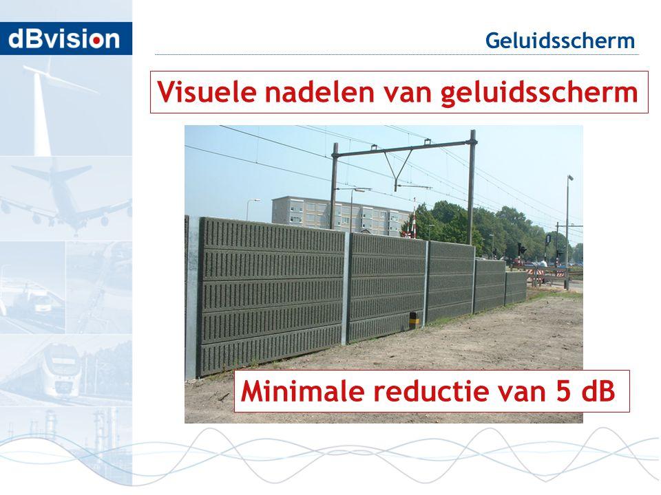 Geluidsscherm Visuele nadelen van geluidsscherm Minimale reductie van 5 dB