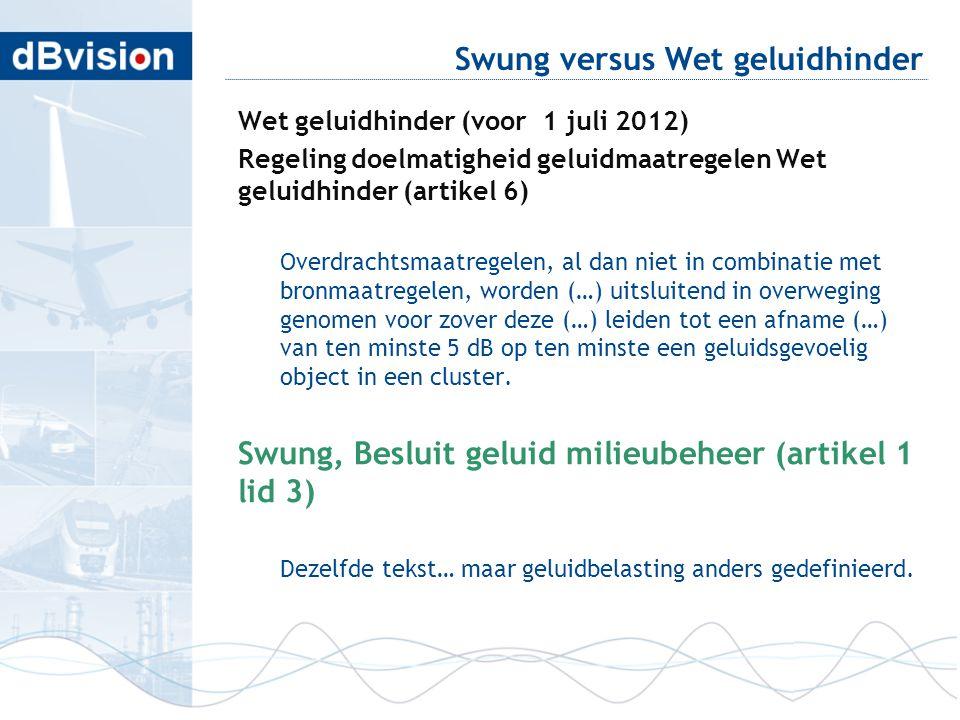 Swung versus Wet geluidhinder Wet geluidhinder (voor 1 juli 2012) Regeling doelmatigheid geluidmaatregelen Wet geluidhinder (artikel 6) Overdrachtsmaa