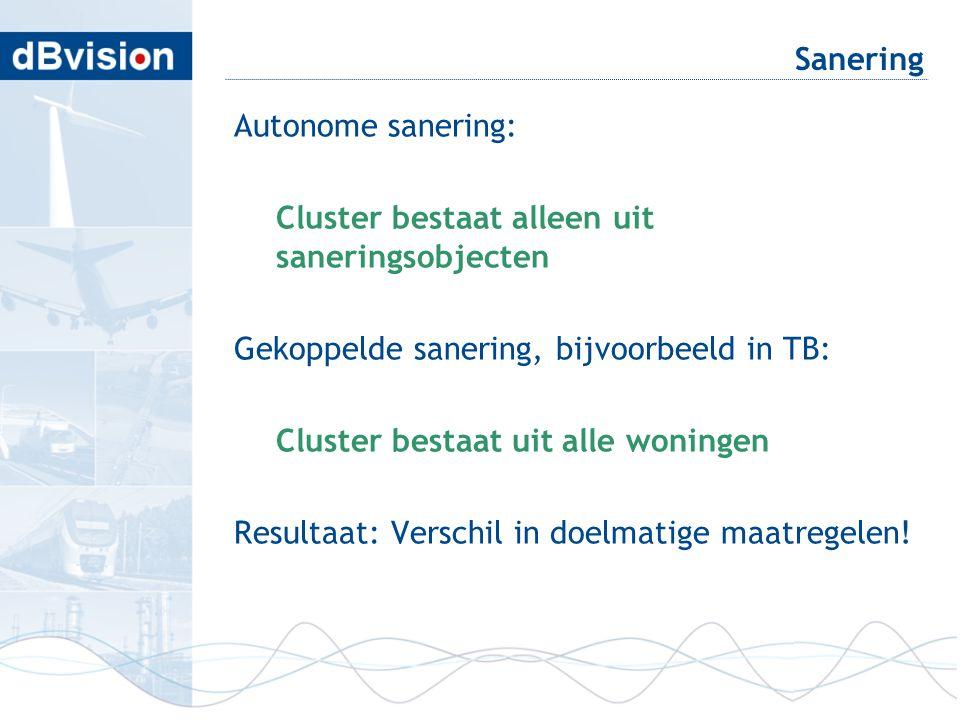 Sanering Autonome sanering: Cluster bestaat alleen uit saneringsobjecten Gekoppelde sanering, bijvoorbeeld in TB: Cluster bestaat uit alle woningen Re