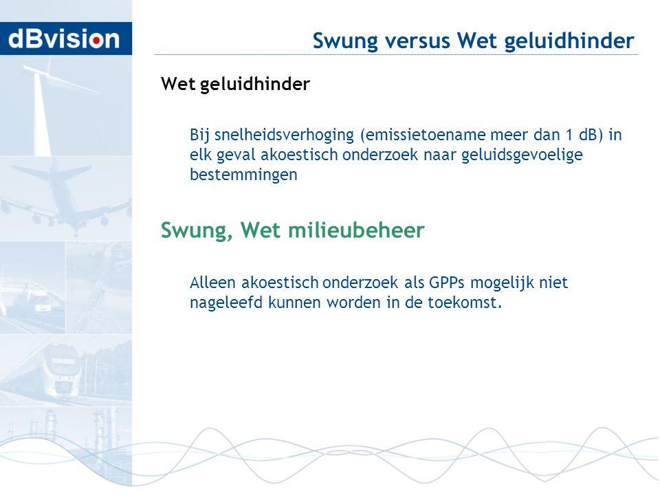 Swung versus Wet geluidhinder Wet geluidhinder Bij snelheidsverhoging (emissietoename meer dan 1 dB) in elk geval akoestisch onderzoek naar geluidsgev
