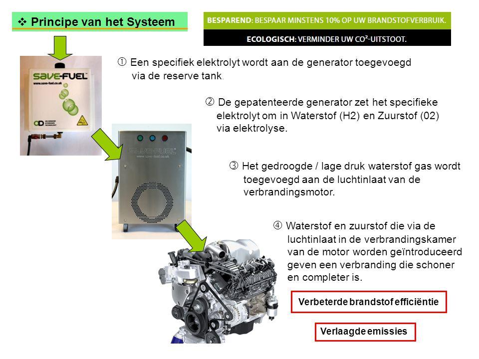 Verbeterde brandstof efficiëntie Verlaagde emissies  Principe van het Systeem  Een specifiek elektrolyt wordt aan de generator toegevoegd via de reserve tank.
