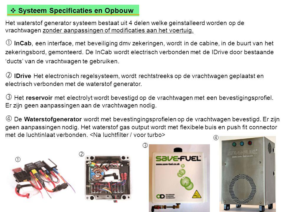  Systeem Specificaties en Opbouw Het waterstof generator systeem bestaat uit 4 delen welke geinstalleerd worden op de vrachtwagen zonder aanpassingen